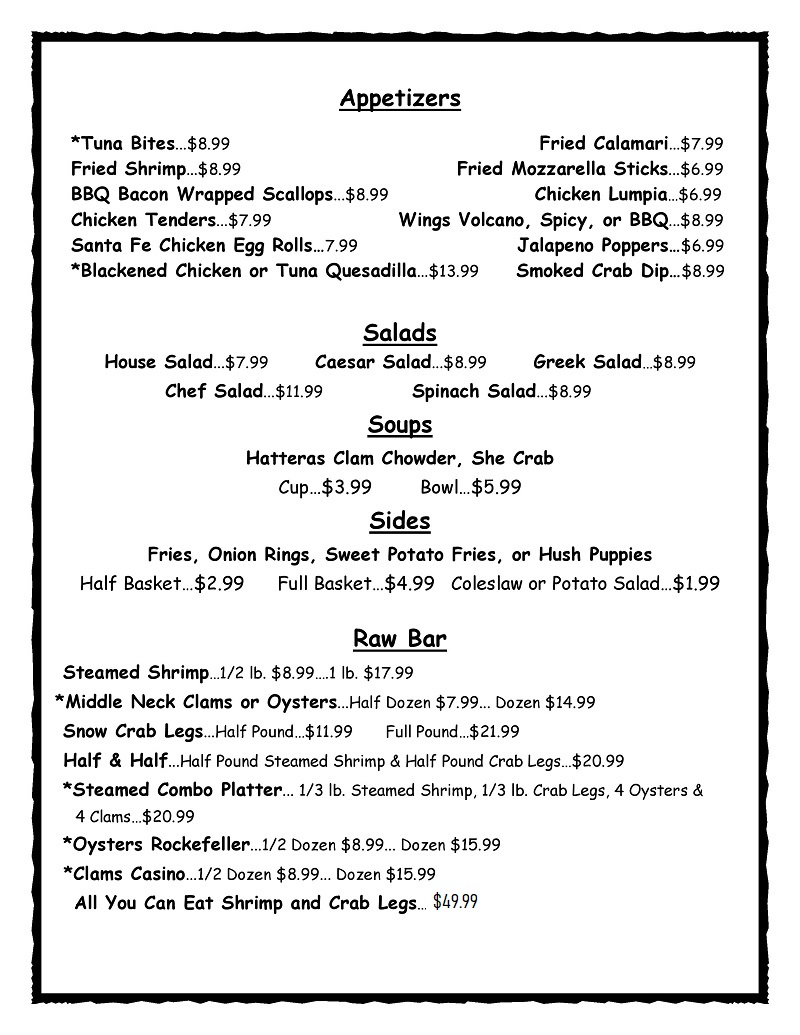 Sandbridge Island Raw Bar Menu