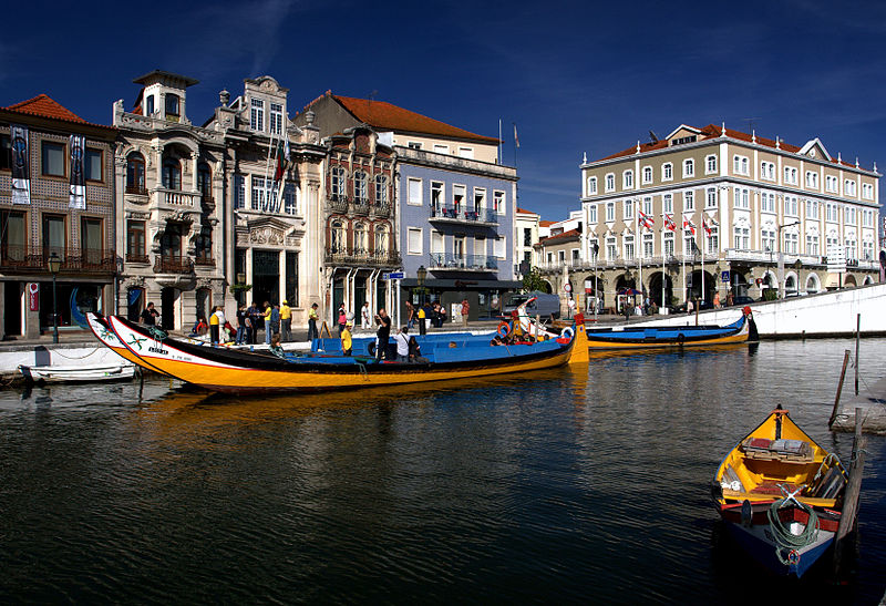 Boats on a canal in Aveiro, Portugal