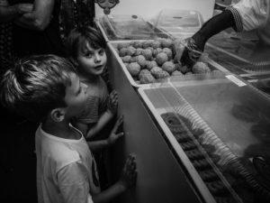 Kids looking at food