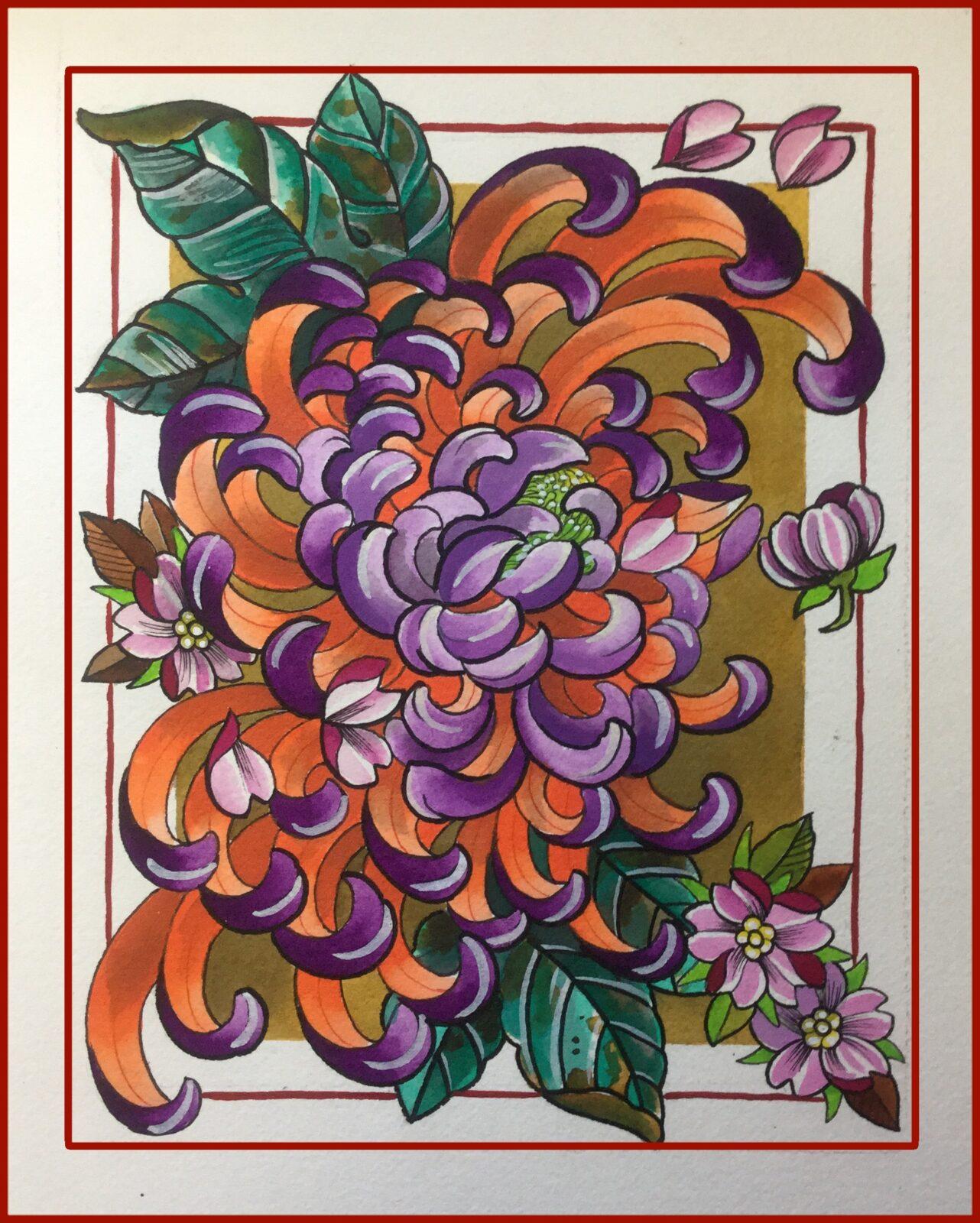 Chrysanthemum Tattoo Study
