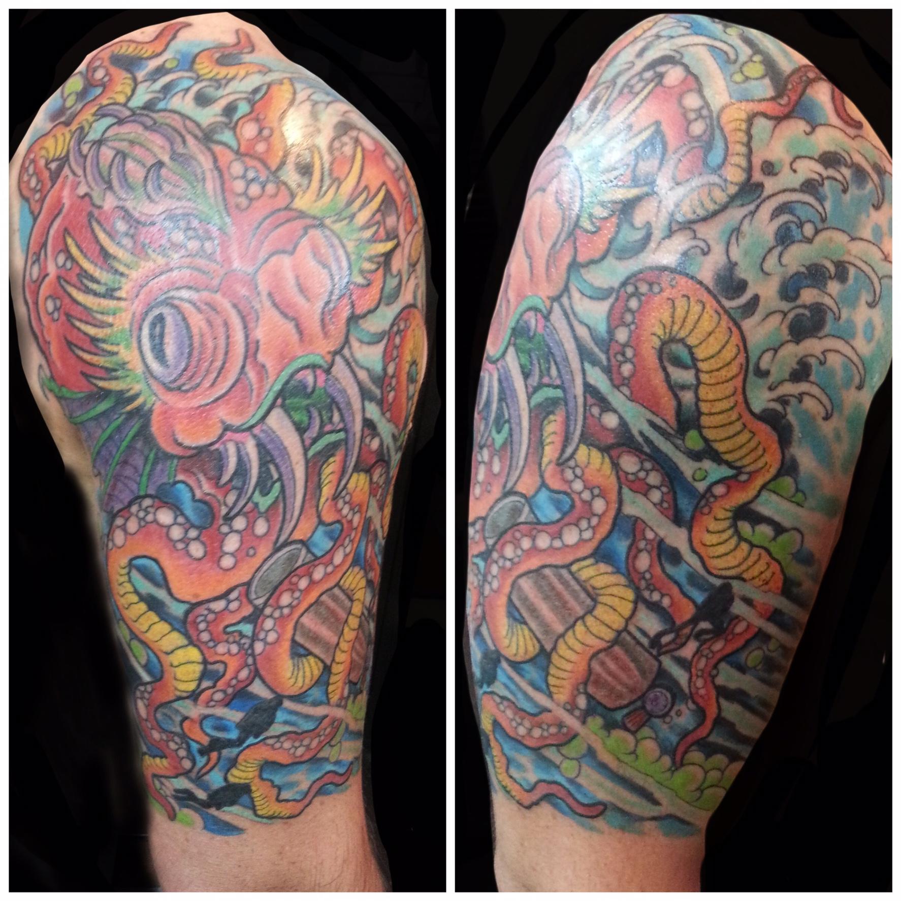 Half Sleeve Kraken Tattoo