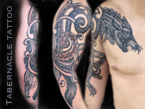 Geometric Nordic Wolf tattoo in black and gray & Celtic