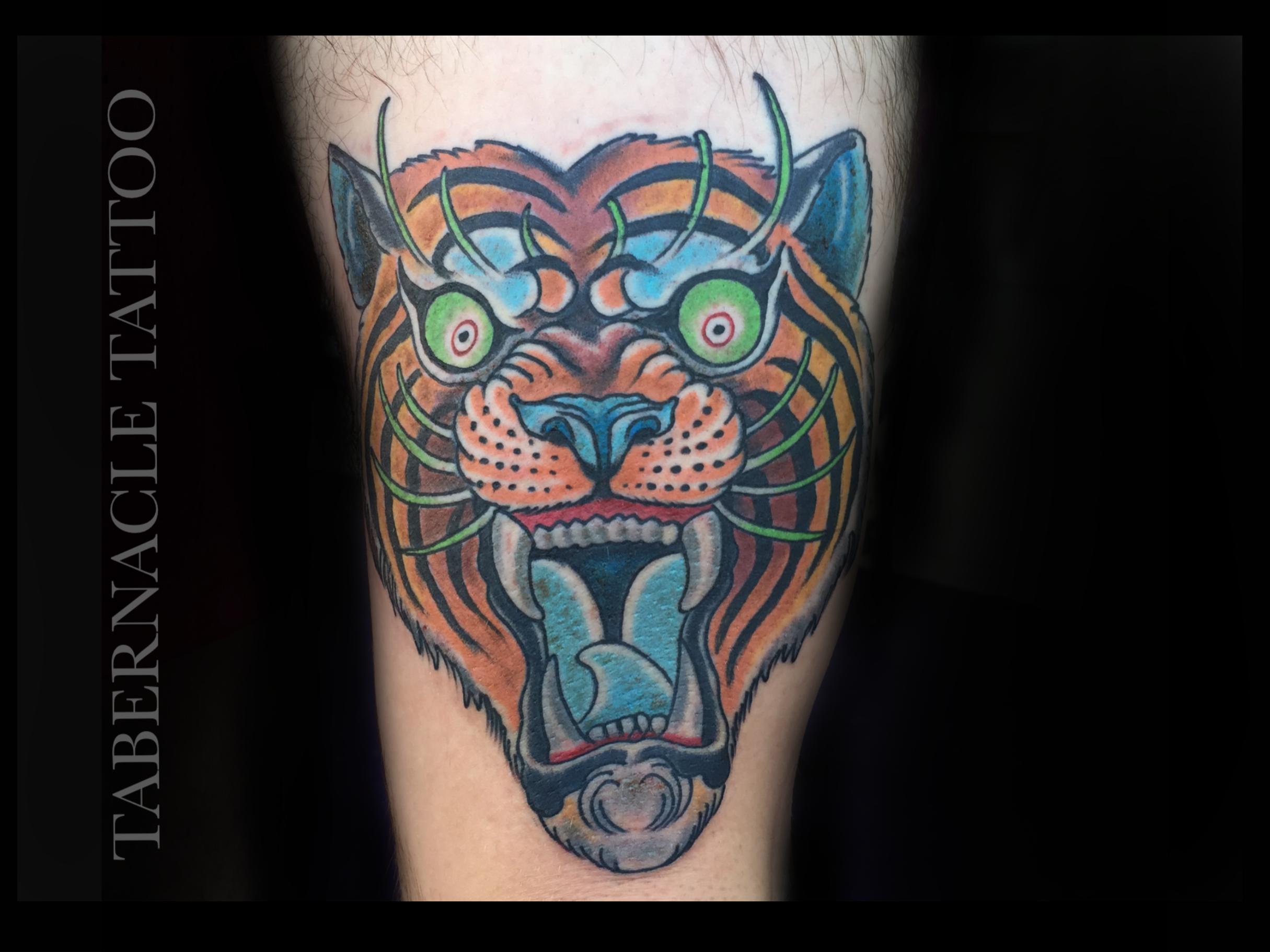 Japanese Tiger Head tattoo color tattoos Tiger tattoo