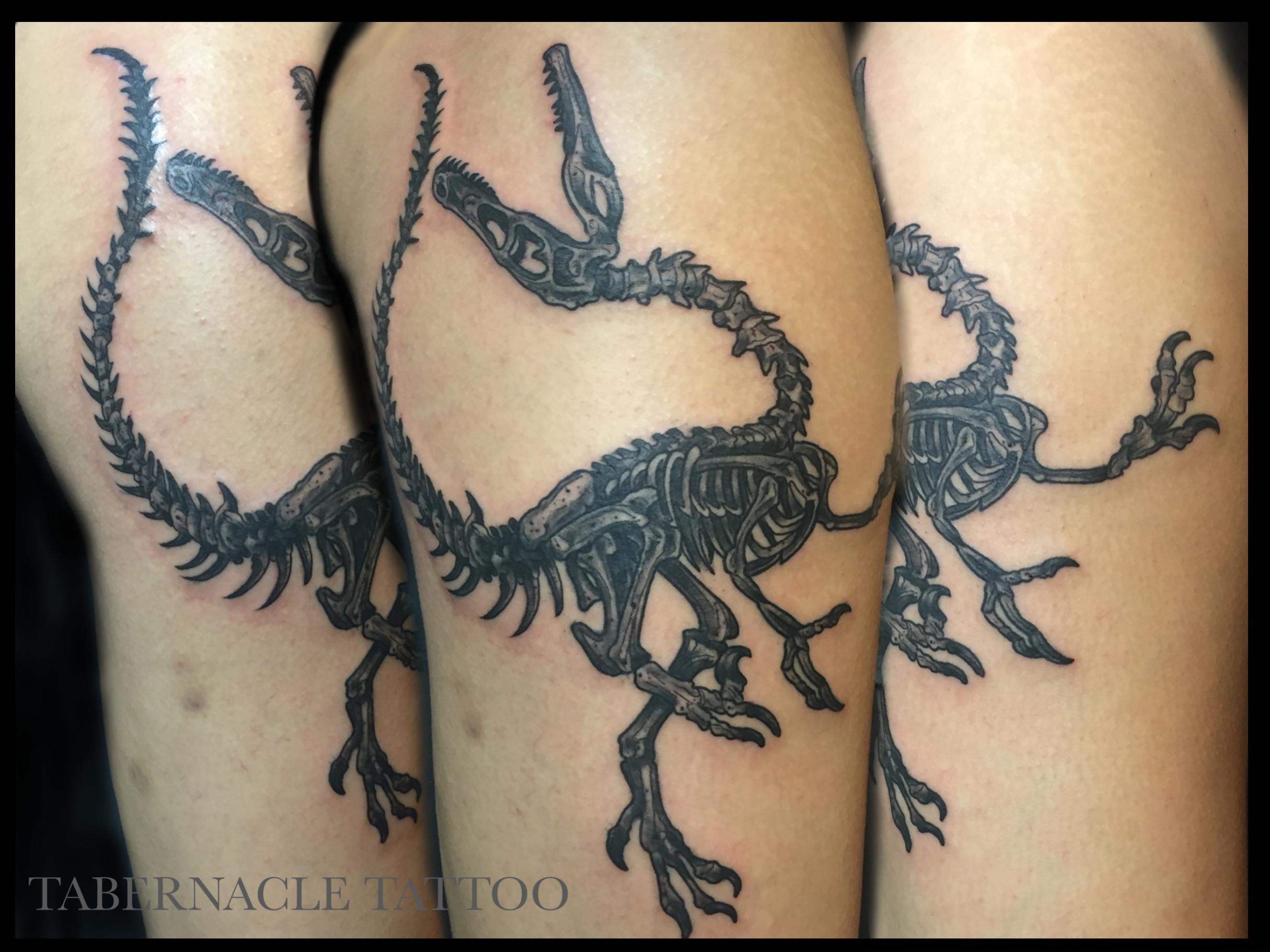 Black and Grey Tattoo  Dinosaur Tattoo