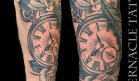 Pocket watch and roses tattoo