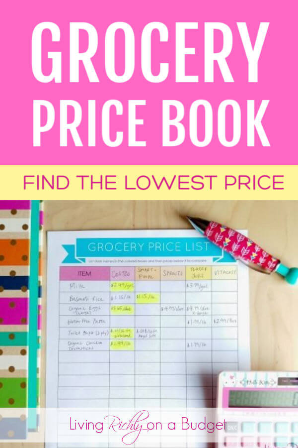 printable grocery price book
