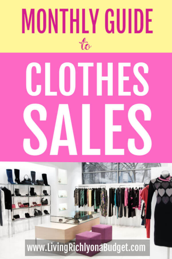 monthly guide to clothes sales