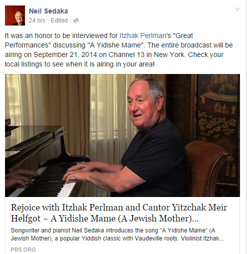 Rejoice with Neil Sedaka, Itzhak Perlman and Cantor  Yitzchak Meir Helfgot