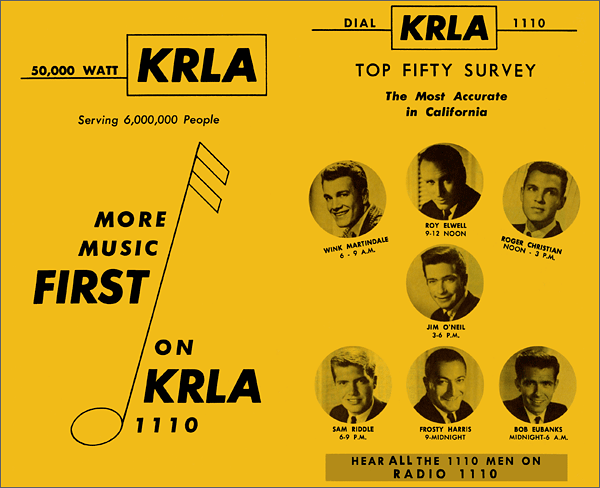 KRLA Los Angeles Was Rock and Roll Radio Powerhouse 50s-60s