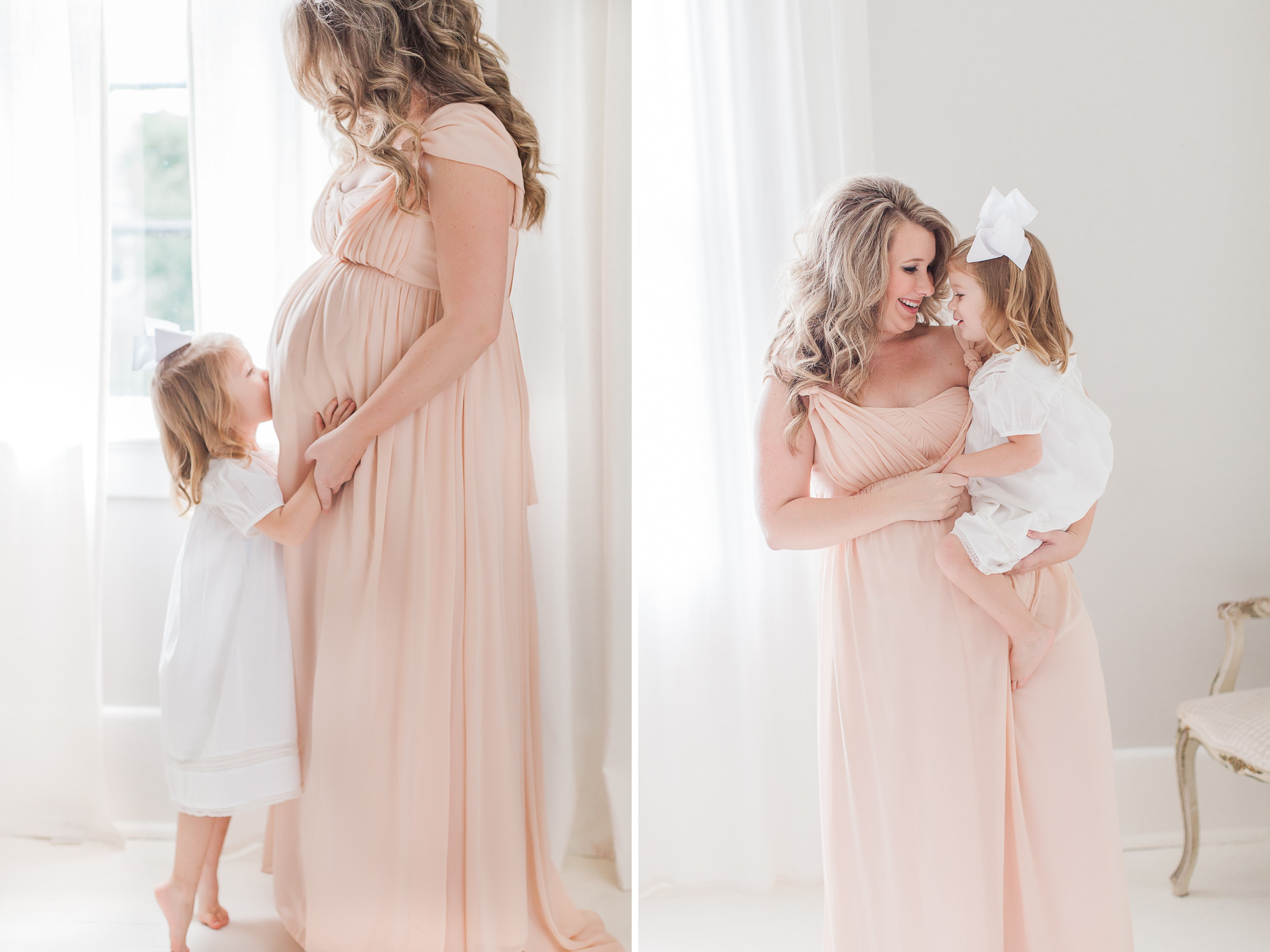 Maternity Pictures in Pink Gown with Daughter | Katrina Barrow Photography