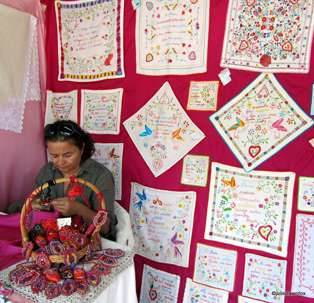 Handkerchief stall at the national handicraft fair, Vila do Conde, Portugal