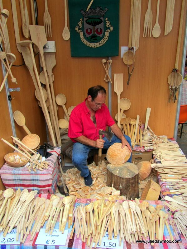 Making wooden spoons at craft fairs around Portugal