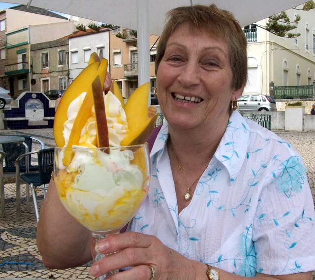 Mum with a mango sundae at Gelataria San Remo, Figueira da Foz
