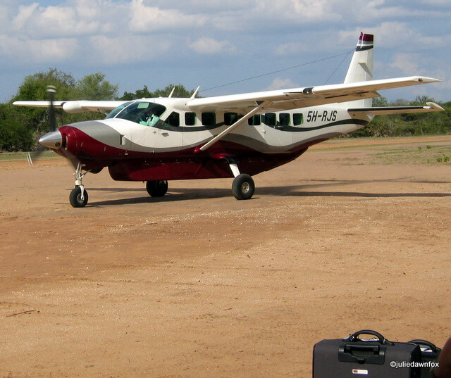 single propeller aircraft and luggage