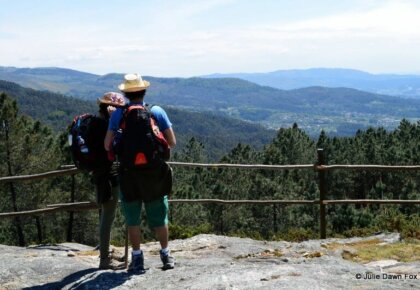 Pilgrims at Labruja, the highest point of the Central Portuguese Camino