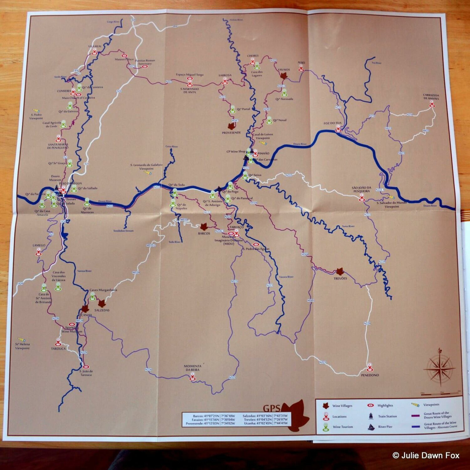 Map of the wine-producing villages route in the Douro wine region
