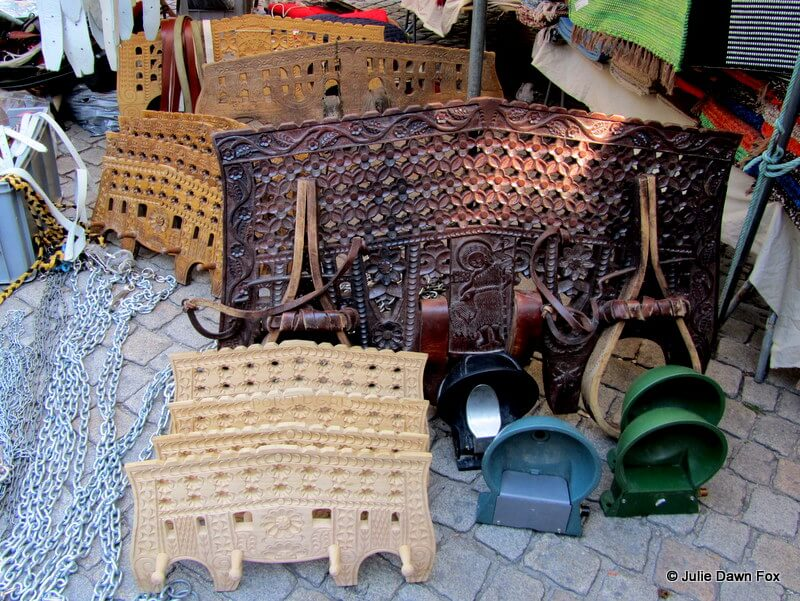 Reproduction decorative ox yokes at Barcelos market