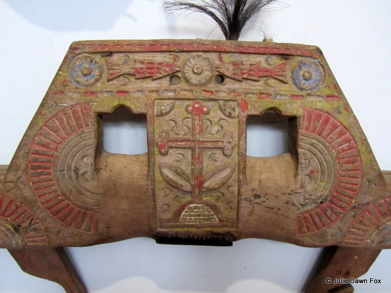 carved, painted wooden ox yoke from Portugal