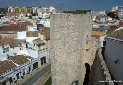 View from castle walls, one of the things to see and do in Loulé, Algarve, Portugal. Photography by Julie Dawn Fox