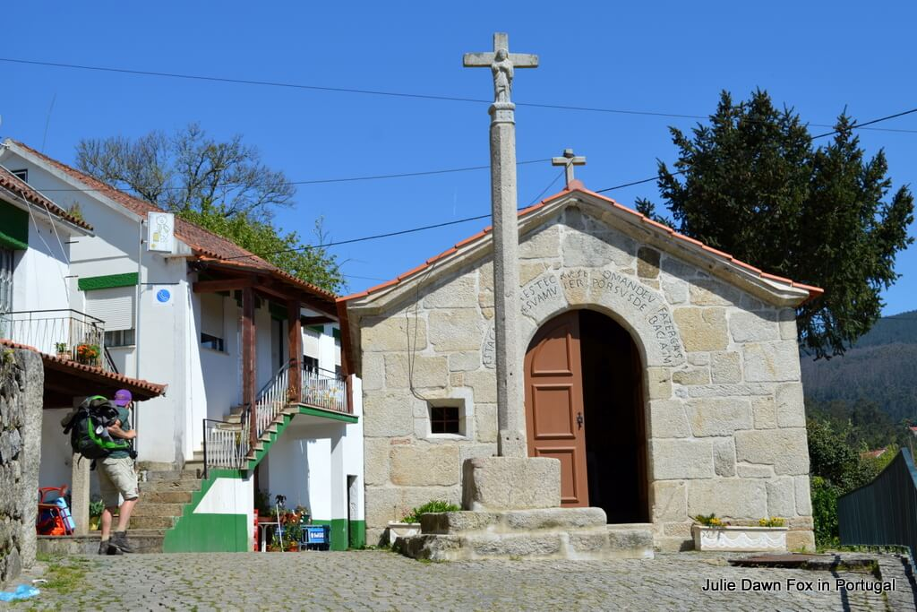 Chapel and café in Revolta. A popular place for pilgrims on the Portuguese camino de santiago, or Way of St. James, to rest before climbing Labruja mountain