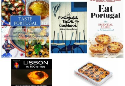 Covers of books about Portuguese food.