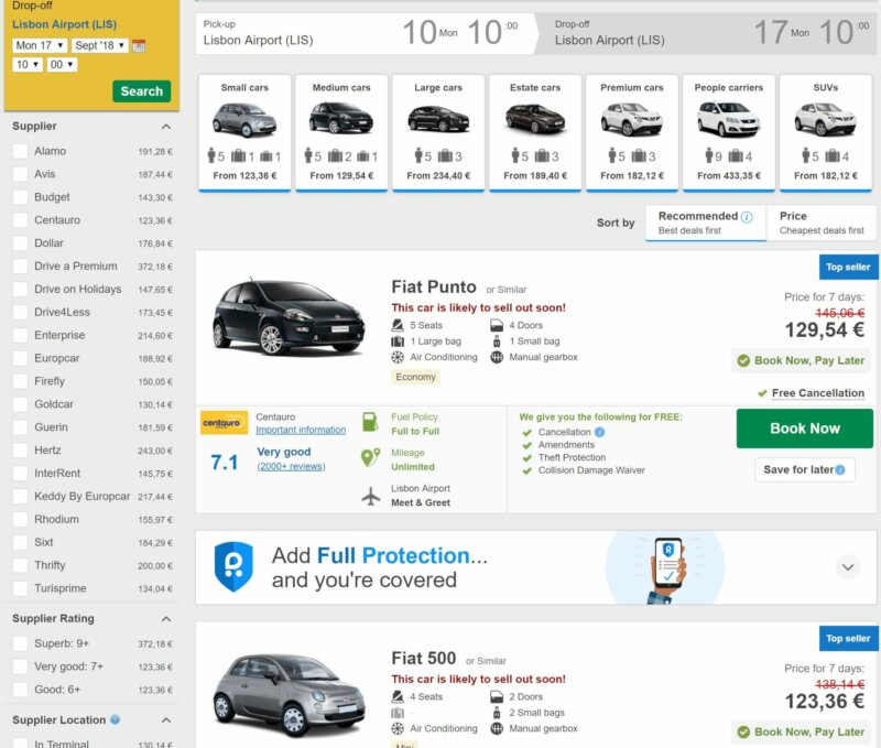 Rentalcars.com search results