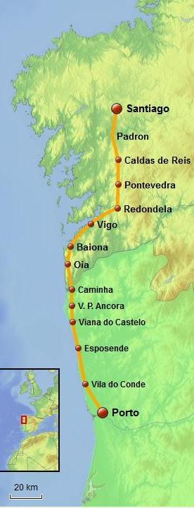 Portuguese Way of Saint James Coastal Route map