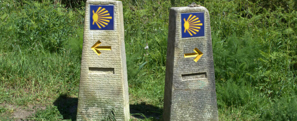 Pick a Way to Santiago. Two Camino waymarkers pinting in different directions near Santiago de Compostela