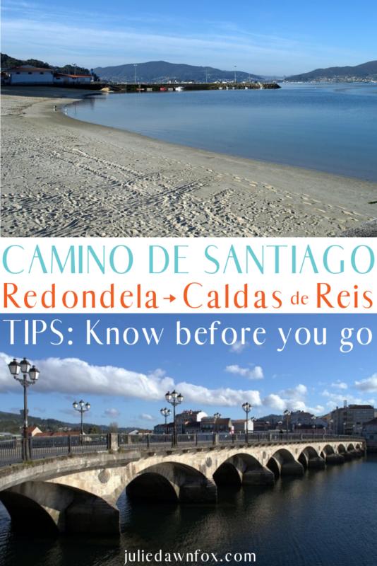 Empty beach and bridge. Portuguese Way of St_ James from Redondela to Caldas de Reis