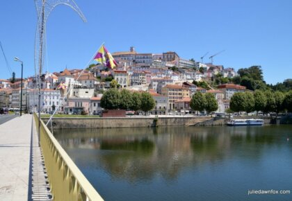 Coimbra and Mondego River from Santa Clara bridge