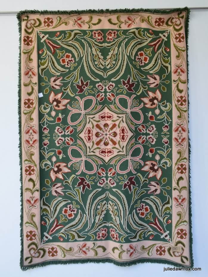 Hand embroidered Arraiolos tapestry rug