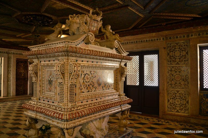 Inlaid marble tomb and room where Princess Santa Joana lies in Aveiro Museum