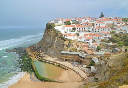 Azenhas do Mar village, cliff and beach