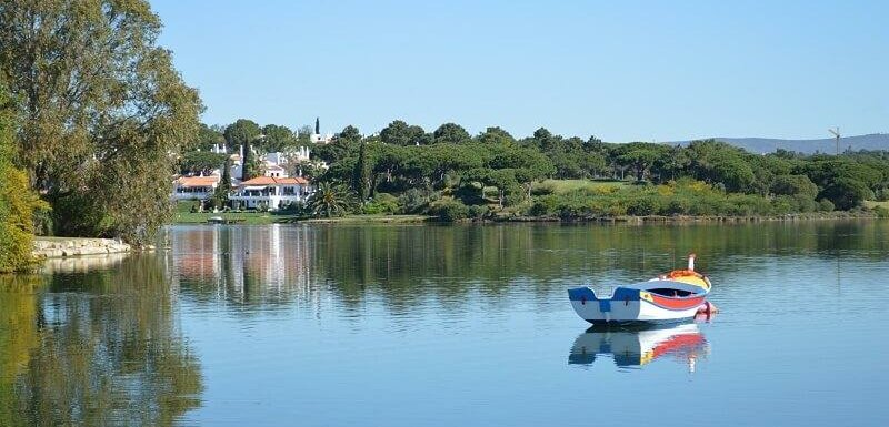 Colourful boat on the lake, Quinta do Lago, Algarve, Portugal