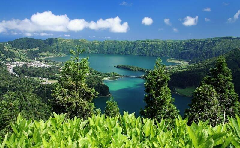 View from lookout Vista do Rei into the volcano caldera Sete Cidades (Sao Miguel, Azores Islands)