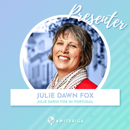 Julie Dawn Fox in Portugal WITS presenter badge
