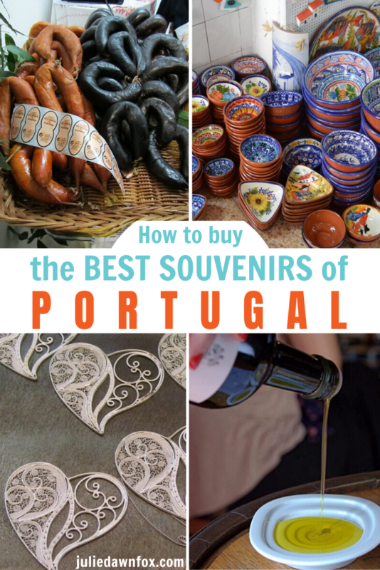 Sausages,bowls, lace-hearts and olive oil.Looking for the best souvenir of Portugal to take home for a loved one? Planning a trip to Portugal and wondering what would be typical to buy as small but special gifts? Either way, this detailed insider guide gives you the rundown on what's available...and in some cases, what to avoid. Read on to find out more!
