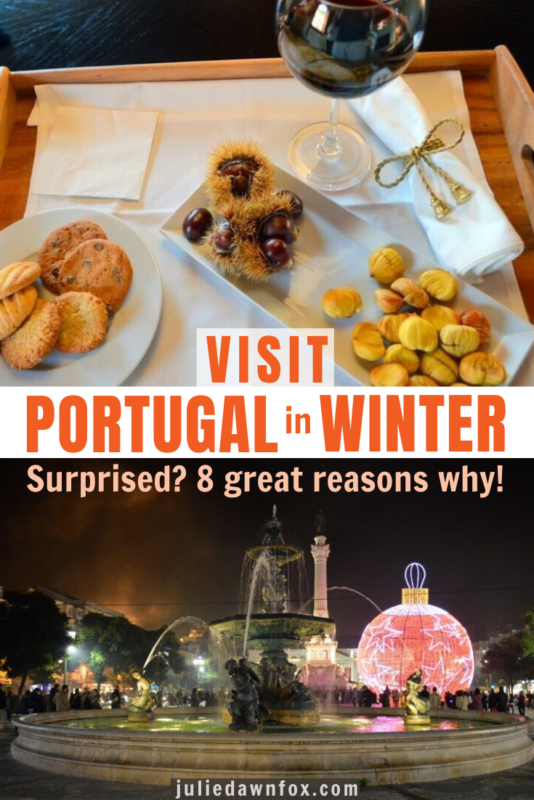 Chestnuts, biscuits and wine and pink bauble Xmas scene. So, beautiful Portugal's about sunny weather and lying on the beach, right? Right...and wrong! Of course, that's ONE (very good!) type of Portuguese vacation, but there are some compelling reasons why the best time to visit Portugal is winter. Yes, winter! A less touristy, more laid-back Portugal for starters, but read on for my insider tips on why else you should add this to your Europe travel bucket list.