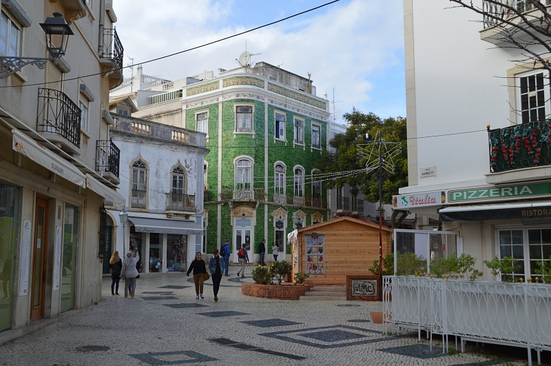 Lagos old town with green corner building