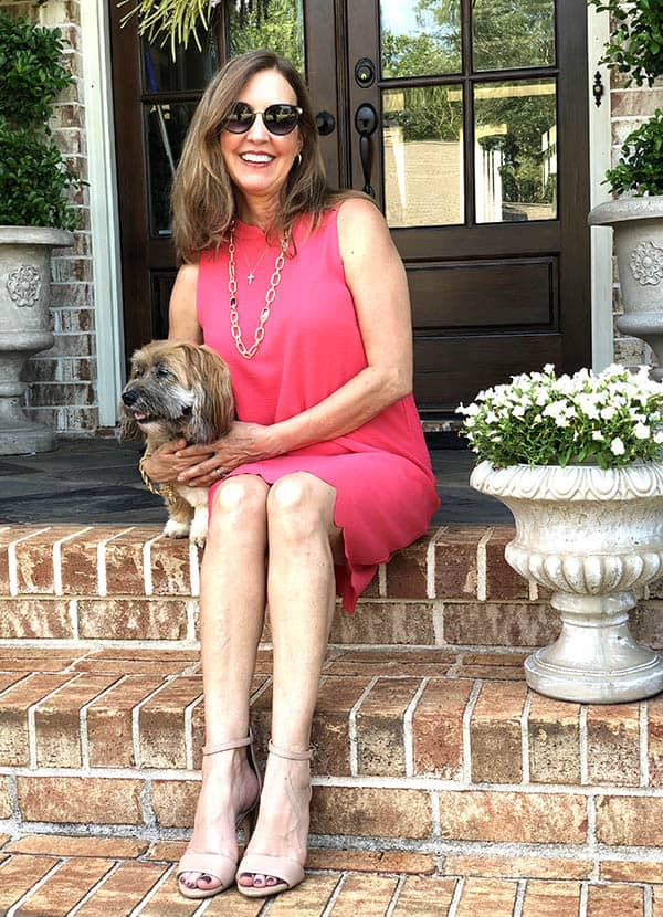 pink scallop edged summer dress and dog