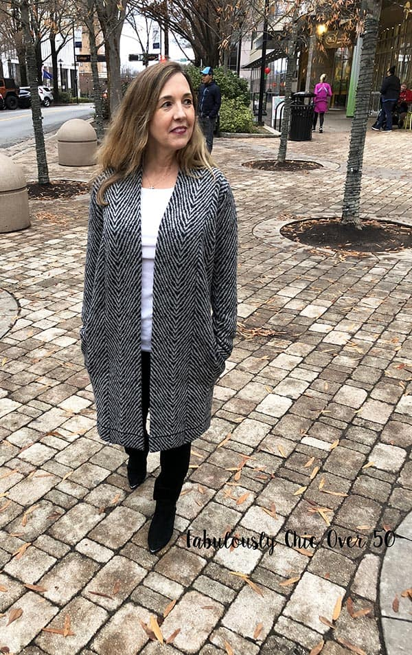 long grey cardigan and boots