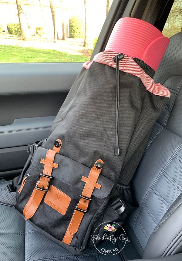 backpack with yoga mat