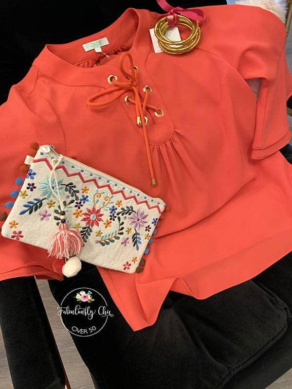 coral bell sleeve top and accessories