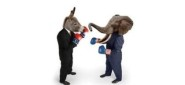 US Republican and Democrat mascots represented by a donkey and an elephant face off in business suits with red white and blue boxing gloves on white background
