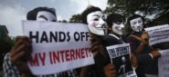 Protesters from the Anonymous India group of hackers wear Guy Fawkes masks as they protest against laws they say gives the government control over censorship of internet usage in Mumbai, June 9, 2012. Anonymous India is associated with the internationa hacker group Anonymous whose previous targets have included high profile targets. REUTERS/Vivek Prakash (INDIA - Tags: SOCIETY SCIENCE TECHNOLOGY POLITICS CIVIL UNREST) - RTR33C09