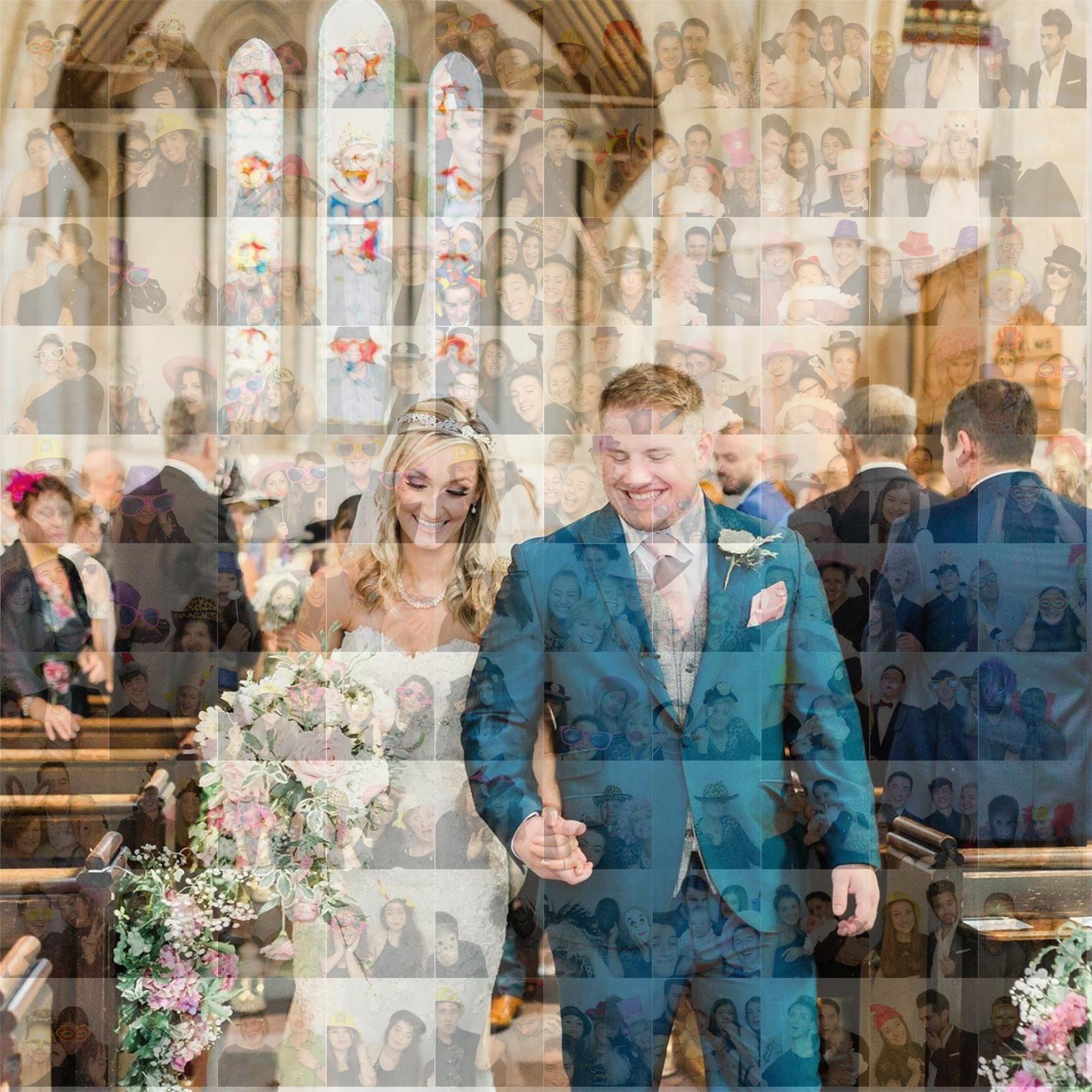 wedding photo mosaic wall