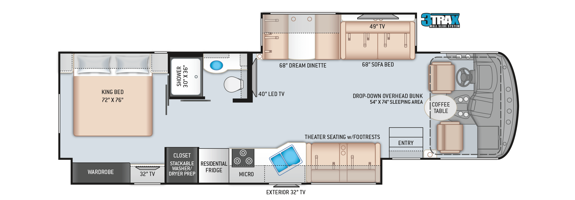 Floorplan of a 34R Windsport RV Rental