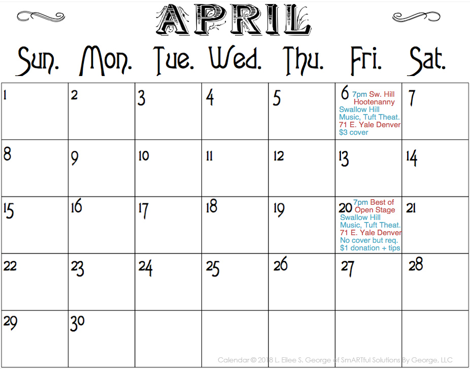 calendar for Eilee George music performances