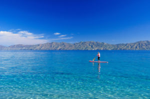 Person stand up paddle-board surfing at Ventana Bay, near El Sargento, Sea of Cortez, Baja California Sur, Mexico