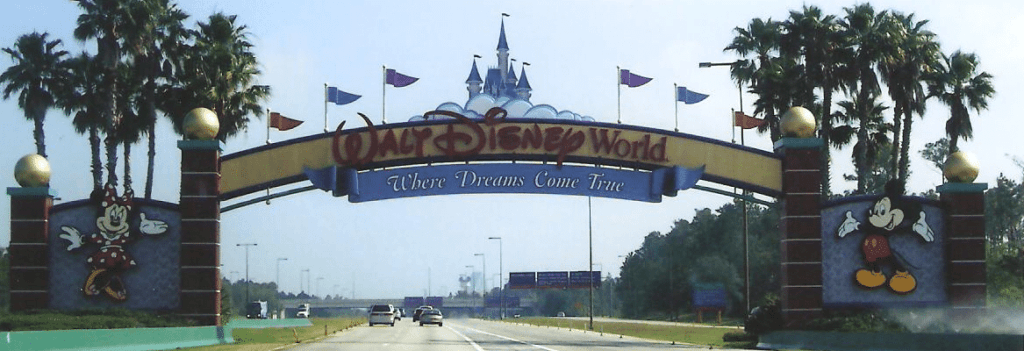 Walt Disney World main entrance sign on World Drive
